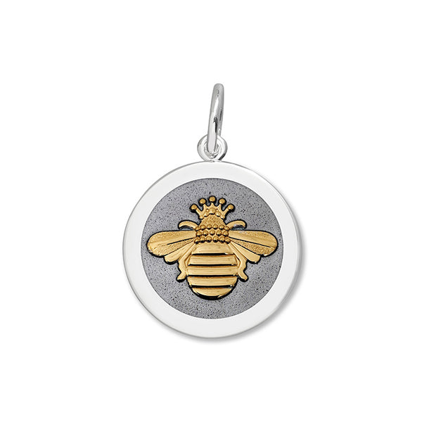 lola queen bee pendant pewter enamel vermeil gold bee medium