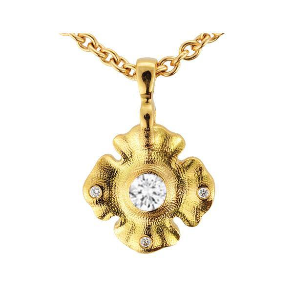 m-102 Alex sepkus leaflet necklace 18k yellow gold diamond quatrefoil