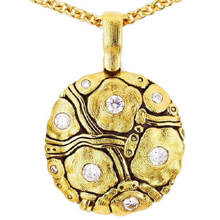 M-105D Summer Flowers Pendant Necklace 18k yellow gold diamonds