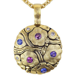 M-105S Summer Flowers pendant necklace, alex sepkus 18k yellow gold necklace with blue/purple sapphire mix and diamonds