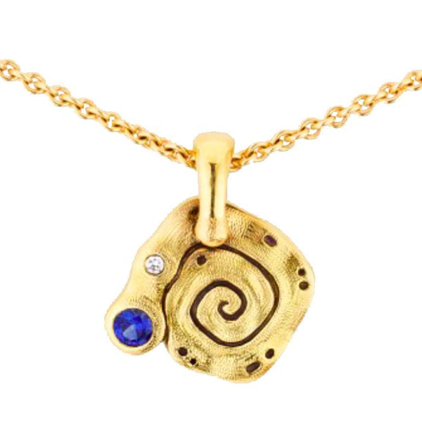 M-106S Flora Necklace Alex Sepkus Sapphire 18k Yellow Gold Necklace