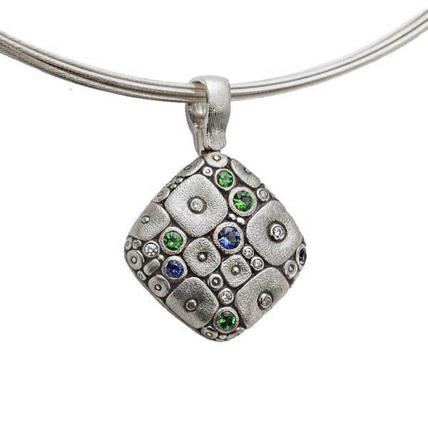 Soft Mosaic Pendant Necklace - Platinum/Sapphire Mix M-46PS