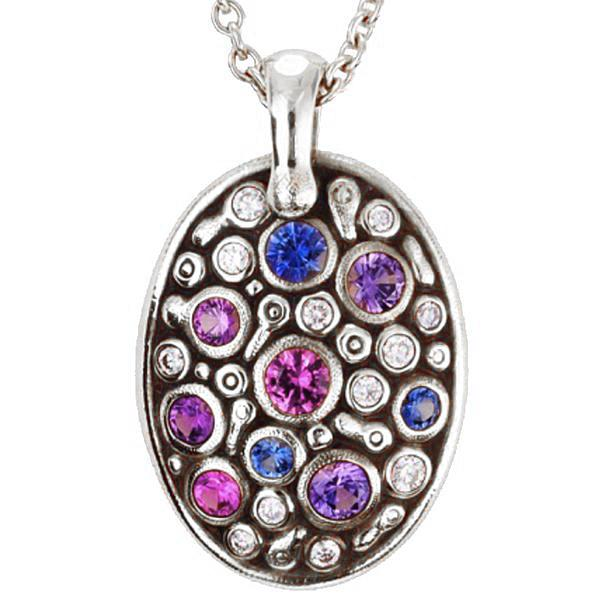 constellation pendant alex sepkus m-64ps platinum pendant necklace with blue and purple sapphires and white diamonds