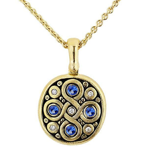 M-73S Alex Sepkus Celtic Spring Sapphire necklace 18k yellow gold