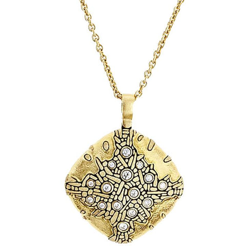 Cushion Pendant Necklace - 18k Gold/Diamonds M-82