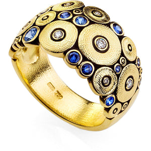 alex sepkus r 110s gold diamond sapphire band ocean ring