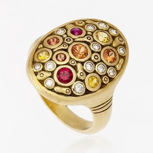 R-141S constellation ring 18k yellow gold pink orange sapphire mix alex sepkus dome ring