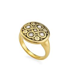 alex sepkus r161d celtic spring ring dome band 18k yellow gold diamond ring fashion jewelry
