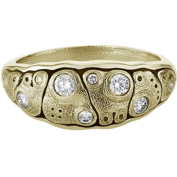 R-203D Anna dome ring 18k yellow gold diamond dome band