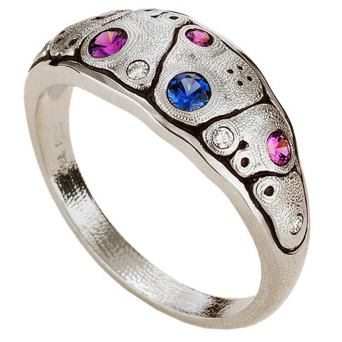 R-203PS Alex Sepkus Anna Dome Ring platinum blue purple sapphire mix
