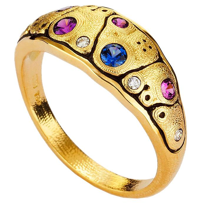 R-203S blue purple mix 18k yellow gold anna dome ring designed by alex sepkus
