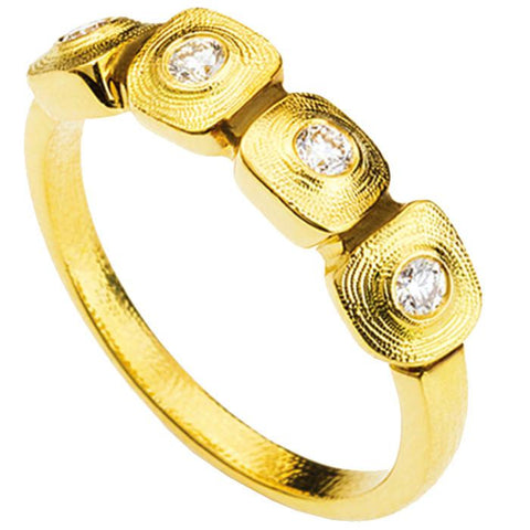 R-212D alex sepkus dancing squares band 18k yellow gold diamonds