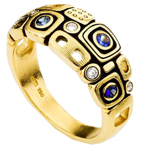 R-214S alex sepkus little windows ring 18k yellow gold blue sapphire