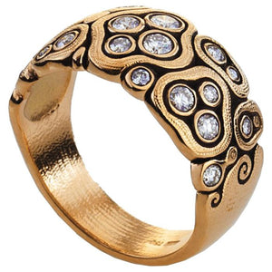 R-86 rd swirling water rose gold diamond dome ring alex sepkus
