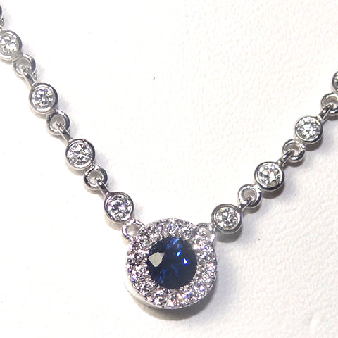 14k white gold sapphire diamond necklace michael's jewelry cape cod jeweler provincetown
