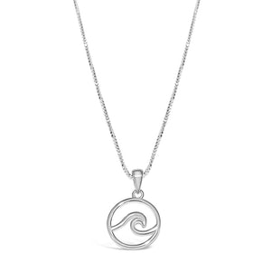 Nautical wave necklace made on Cape Cod sterling silver wave