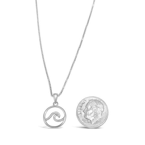 sterling silver wave pendant with a sterling silver box chain made on cape cod wave necklace