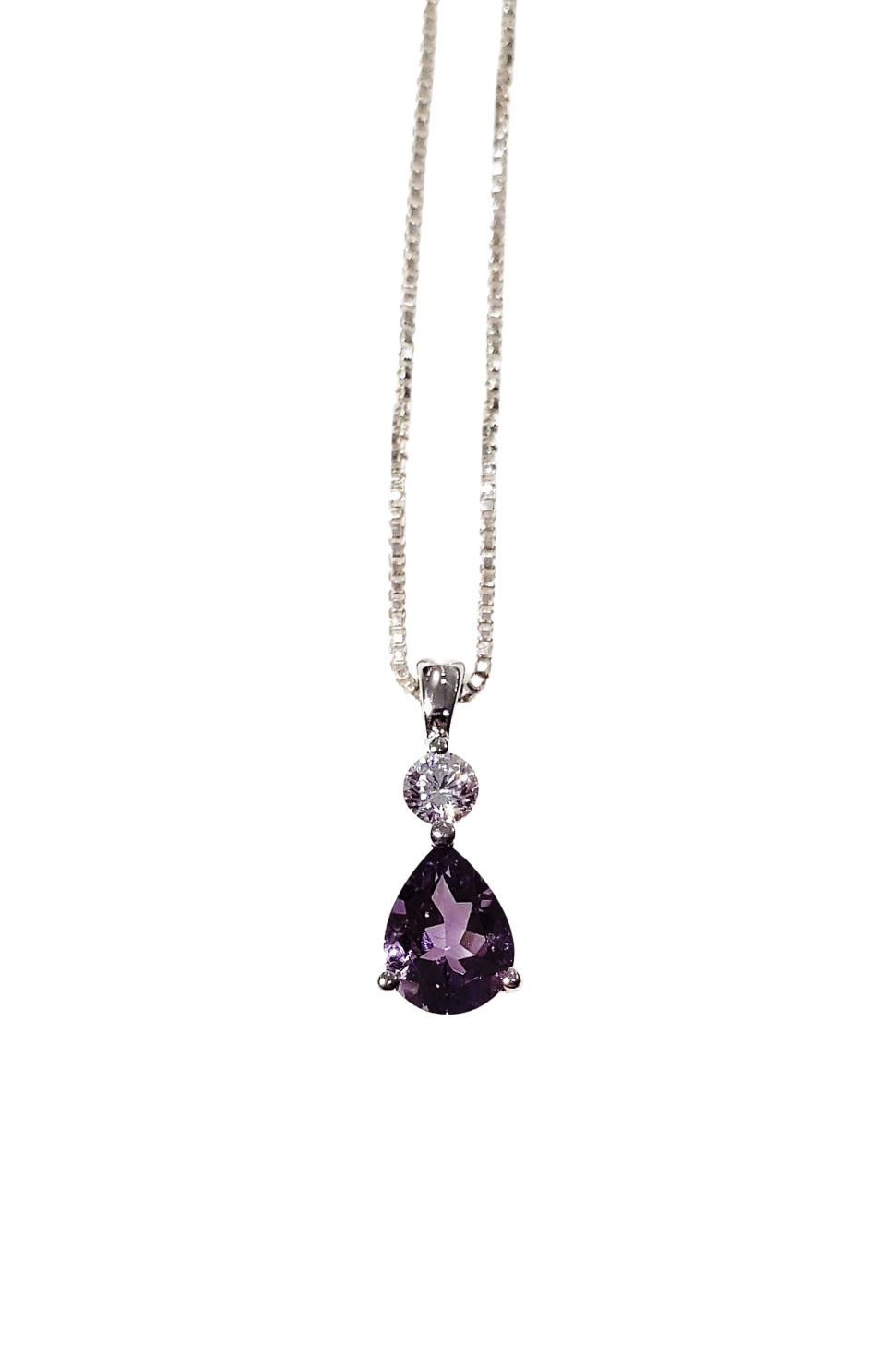 925 sterling silver pendant necklace with amethyst and white cubic zirconia