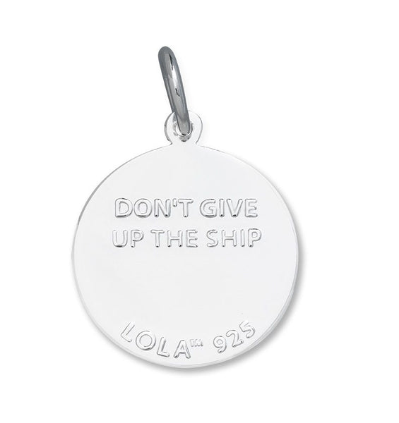 Don't Give Up the Ship Lola anchor pendant alpine white enamel inlay Silver Back Side of the color nautical pendant nantucket provincetown
