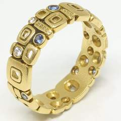 Little Windows Band - 18k Gold/Sapphire/Diamond R-118S