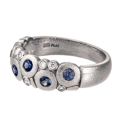 Candy Dome Ring - Platinum Sapphire/Diamond