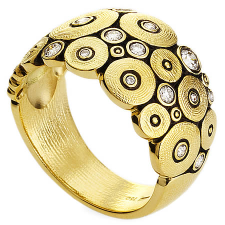 ocean ring alex sepkus r100d 18k yellow gold diamonds dome band