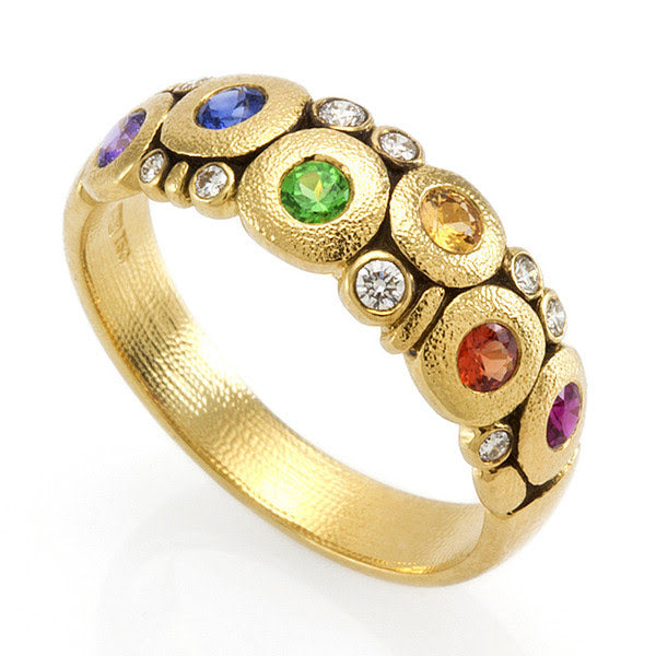 rainbow sapphire ring alex sepkus dome candy 18k gold handmade fine fashion jewelry r-122S