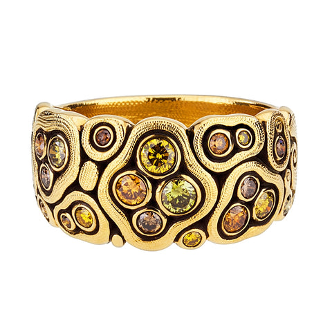 alex sepkus swirling water natural color diamonds 18k yellow gold dome band r-86