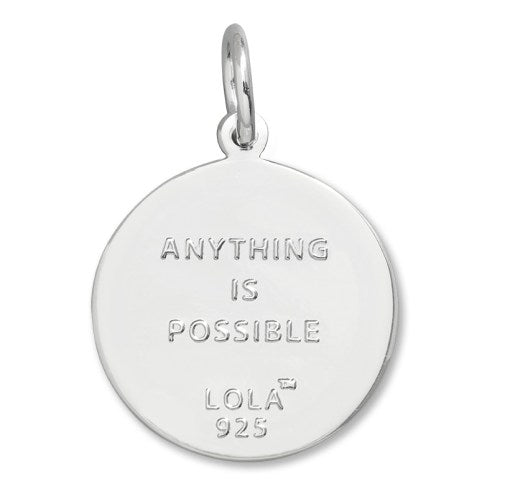anything is possible Lola Bee pendant periwinkle enamel center