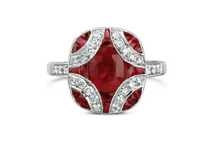 art deco ruby and diamond ring, 18k white gold