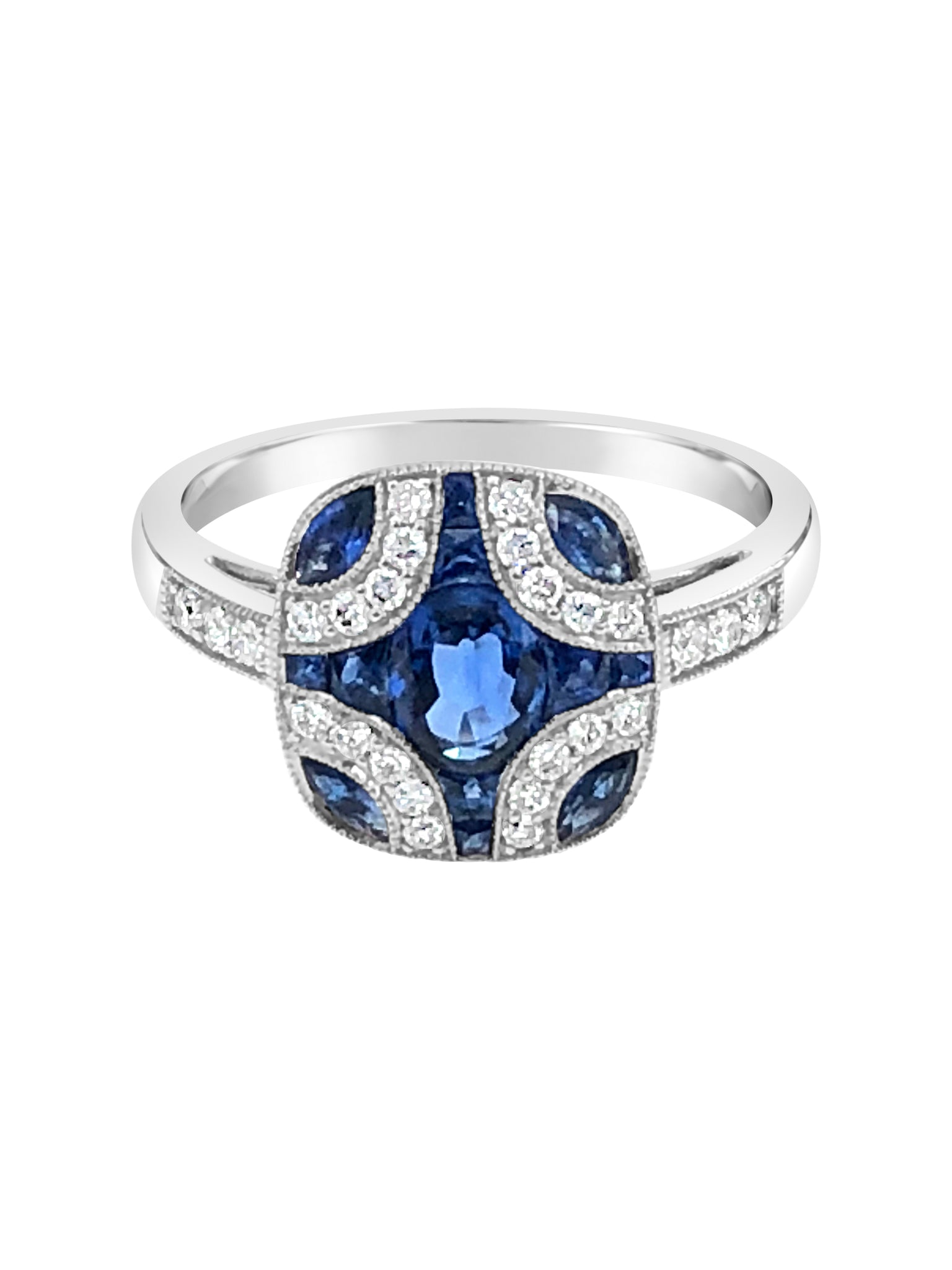 18k white gold ring sapphire diamond art deco style michaels custom jewelers provincetown