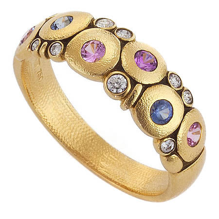 candy dome ring alex sepkus blue sapphire purple 18k yellow gold fashion jewelry diamond ring