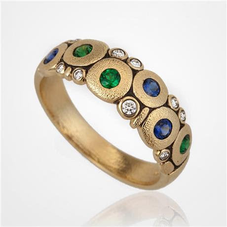 r-122s alex sepkus ring candy gold sapphire tsavorite 18k diamond fashion ring handmade jewelry