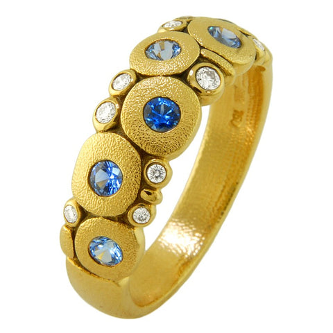 alex sepkus ring candy dome ring 18k yellow gold blue sapphire diamond band r-122S