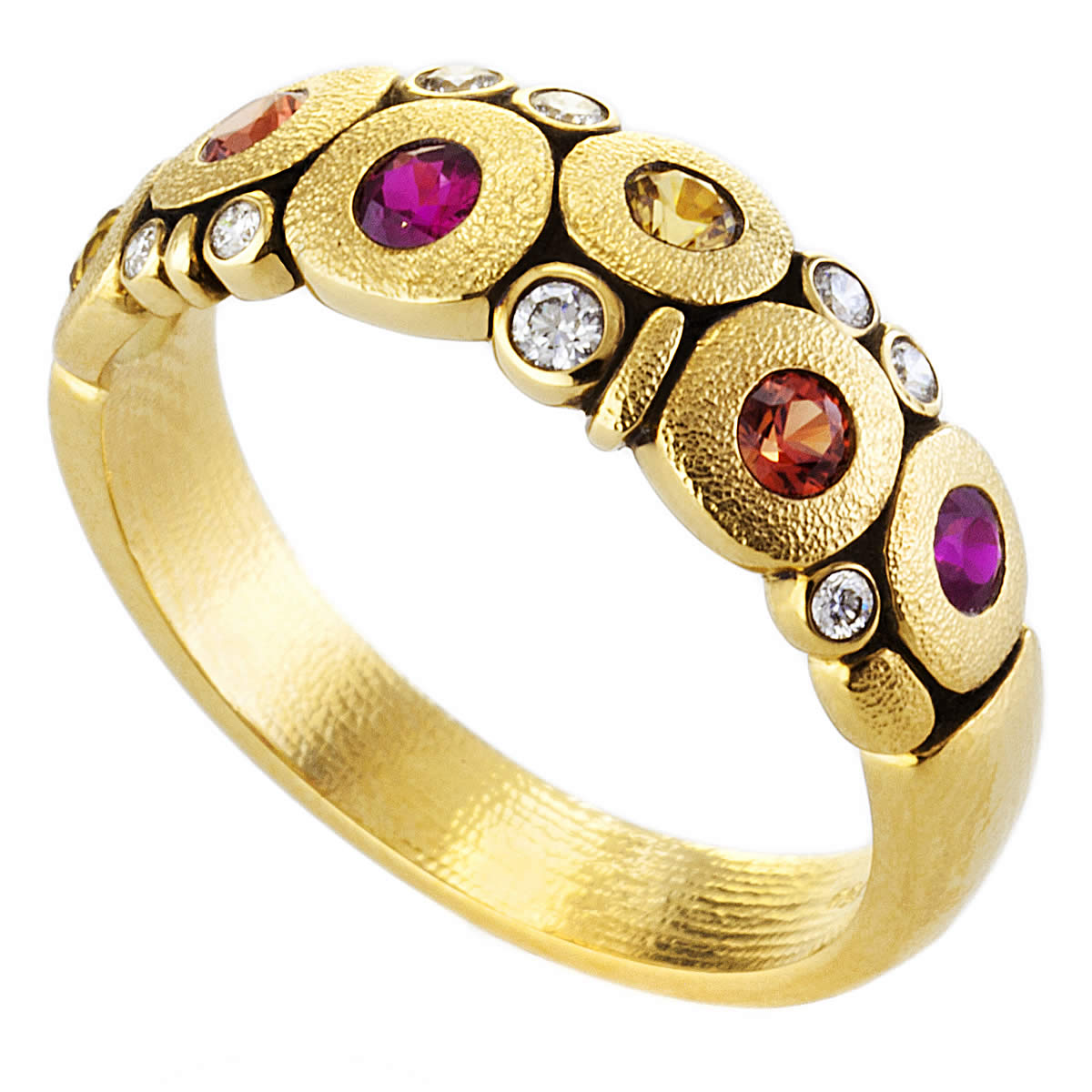 alex sepkus ring fire mix 18k yellow gold sapphire r-122s fire mix