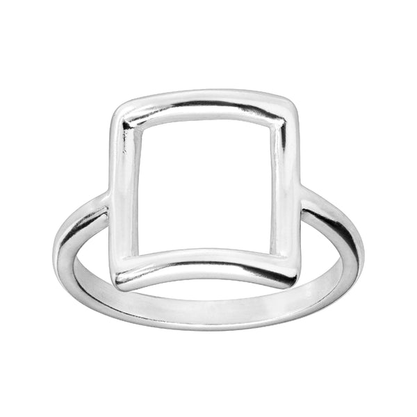 cape cod open square ring sterling silver minimalist ring