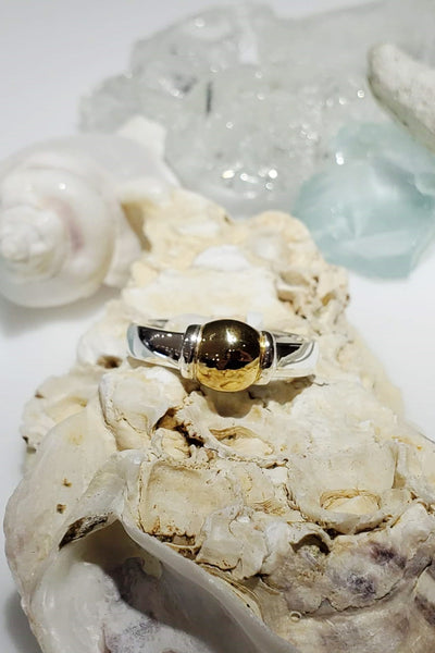 cape cod beach ball ring, 925 sterling silver gold-filled, made on cape cod for michael's custom jewelers in provincetown