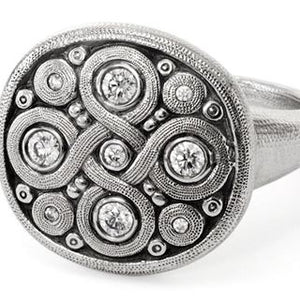 Celtic Spring Ring - Platinum/Diamonds R-161PD