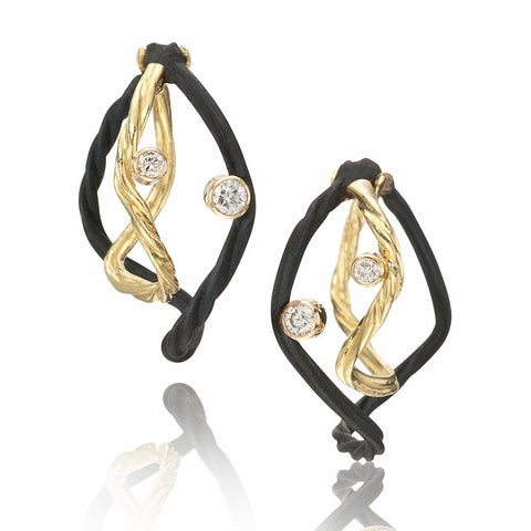 Clover Small Double Wire Diamond Hoop Earrings 18k yellow gold oxidized cobalt chrome