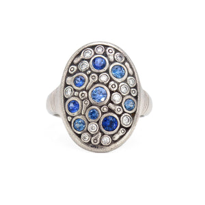 alex sepkus platinum constellation dome ring diamonds blue sapphires r-141ps handmade fine jewelry
