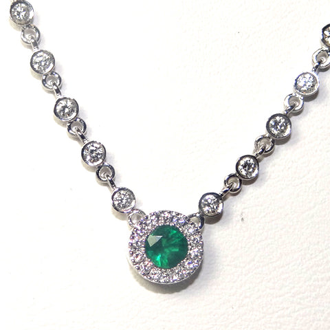Handmade Necklace - 14k White Gold/Emerald/Diamond #AN-DE5