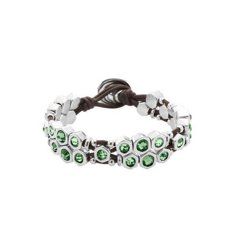 REF# PUL1875VRDMTL0M UNOde50 Honey Moon bracelet green crystal bracelet made in spain