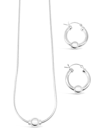 925 sterling silver beach ball necklace and small earrings set, value set cape cod beach ball jewelry made of 925 sterling silver