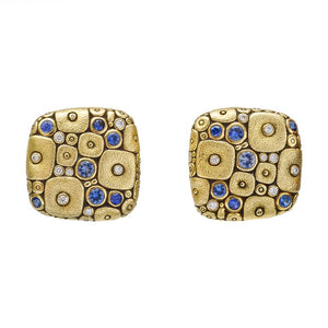 Soft Mosaic Earrings - 18k Yellow Gold/Blue Sapphire E-115S