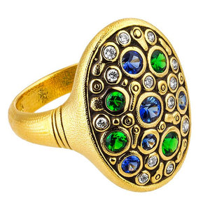 Alex Sepkus Constellation ring blue green mix sapphire diamond 18k yellow gold alex sepkus dome band R-141S