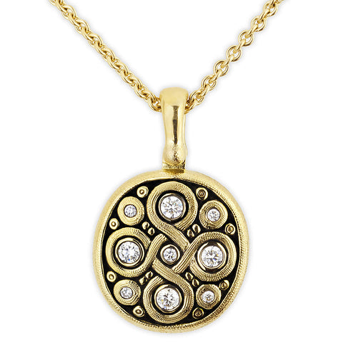 Celtic Spring Pendant Necklace - 18k Gold/Diamonds M-73D