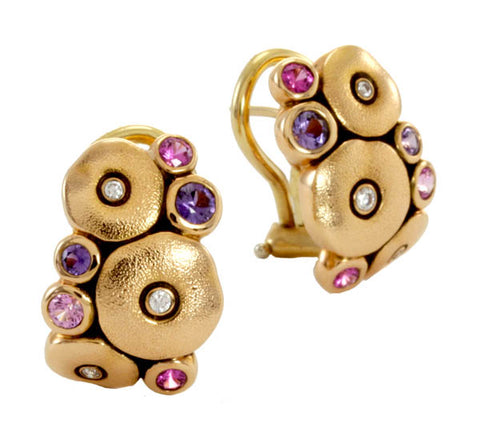 """Orchard"" Earrings - 18k Gold/Pink and Purple Green Mix E-100s"