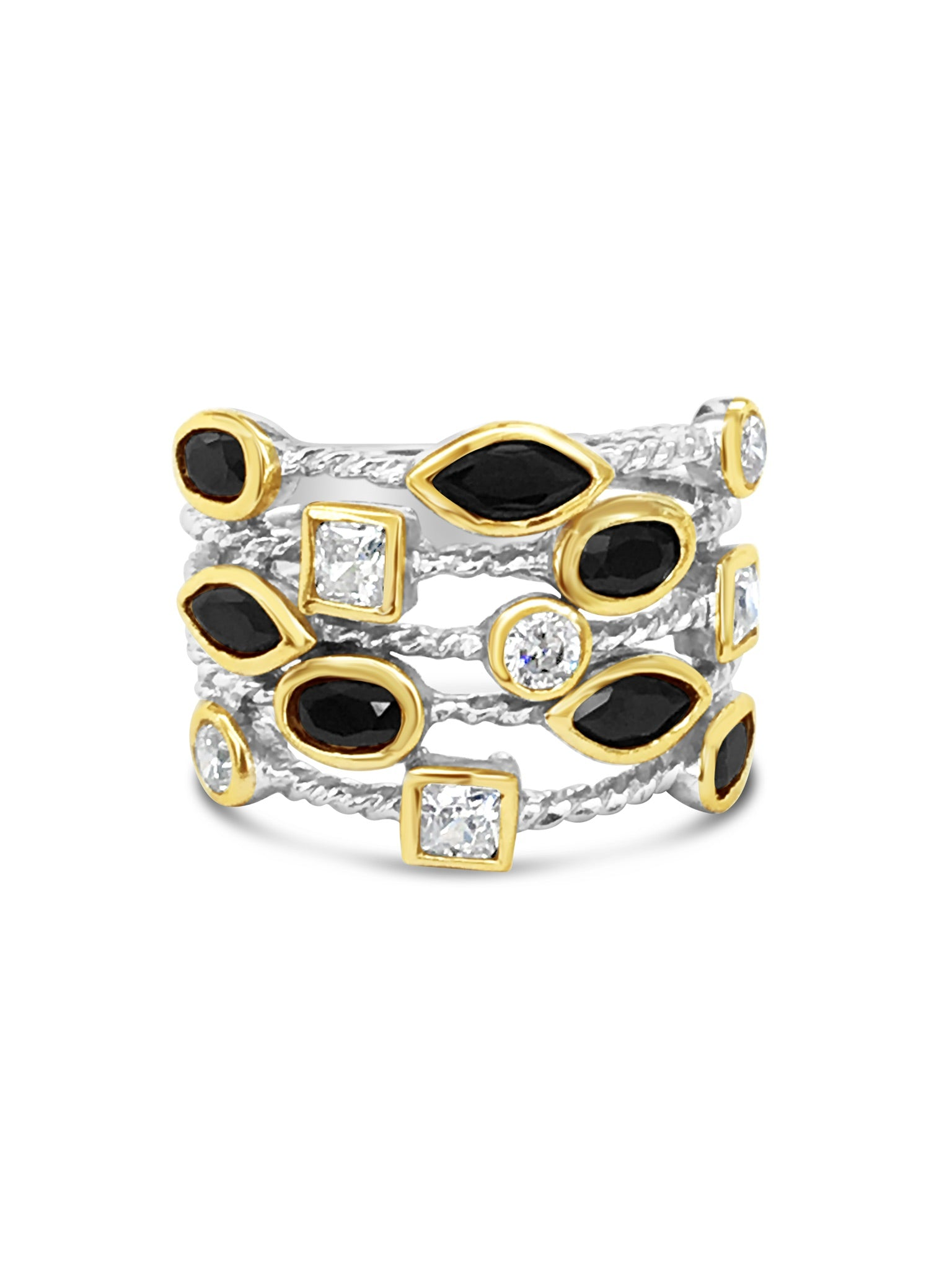 confetti ring david yurman inspired silver ring black and white crystals