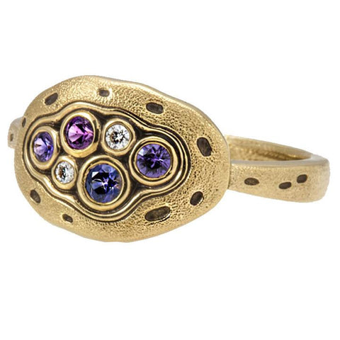 little pool dome ring alex sepkus 18k gold diamond blue purple sapphire r-140s