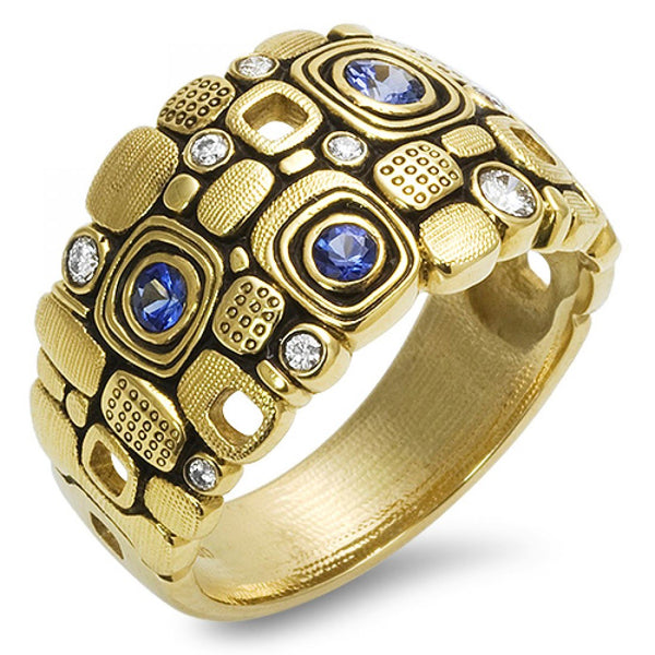 r101s alex sepkus little windows dome ring sapphire diamond handmade band 18k gold michaels jewelry cape cod jeweler provincetown